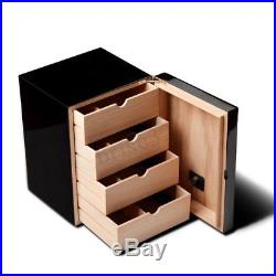 100 Cigar Humidor Case Storage Box Leather Cedar Wood with Humidifier Hygrometer