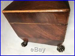 11 Antique Victorian Wood BoxMetal Claws FeetMarquetryw Orig KeyTea Caddy