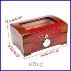 120 Cigar Storage Case Box Wood Cedar Gloss Piano Humidor Hygrometer Humidifier