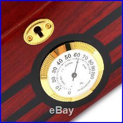 120 Cigars Wood Box Cedar Lined Cigar Humidor Humidifier Hygrometer Storage US
