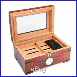 120 Cigars Wood Box Cedar Lined Cigar Storage Case Humidor Humidifier G