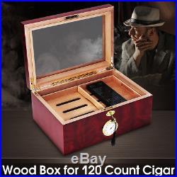 120 Cigars Wood Box Cedar Lined Cigar Storage Case Humidor Humidifier Hygrometer
