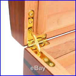 120-Cigars Wood Cedar Lined Cigar Storage Case Box Humidor Hygrometer Humidifier