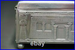 1930 German Koch&Bergfeld Silver Plate Egyptian Revival Art Cigar Box Humidor