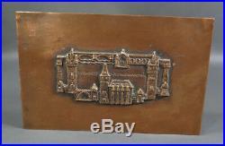 1960s Hungarian Kopcsanyi Otto Budapest Vajdahunyad Castle Copper Cigar Box Case
