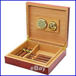 20-25 Cigar Humidor Cedar Wood Wooden Humidifier Hygrometer Cigars Box Holder