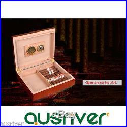 25 Count Retro Wooden Cigar Box Case Humidor+Humidifier Hygrometer Xmas Men Gift