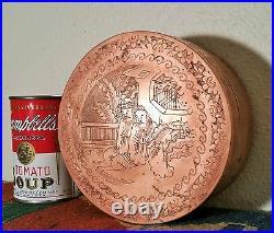 2POUNDS! Antique chinese round copper stash humidor box vtg buddha art sculpture