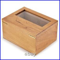 2 Drawer Wooden Cigar Humidor with Humidifier Hygrometer Large Capacity Cigar Box
