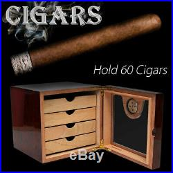 4-Layer Cedar Wood Cigar Humidor Collect Storage Humidifier Hygrometer Box Case