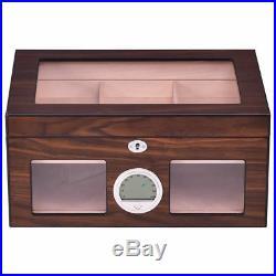 50-100 Cigar Humidor Storage Box Desktop Glasstop Humidifier Hygrometer Lockable