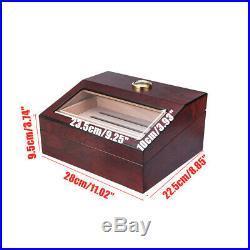 50+ Count Cigar Humidor Box Wooden Cabinet Storage Humidifier Hygrometer