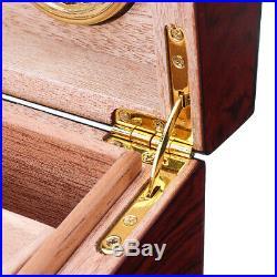 50+ Count Cigar Humidor Box Wooden Cabinet Storage Humidifier Hygrometer Cedar