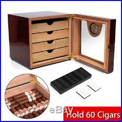 60-Cigars Lined Cedar Wood Cigar Humidor Humidifier Hygrometer Storage Box Case
