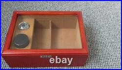 ARBUTUS New York Cigar Humidor box, Solid wood, Glass Window, 30cm, velvet base