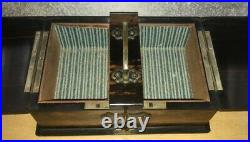 A Rare Stunning Antique Coromandel & Brass Desk Top Cigar and Cigarette Box