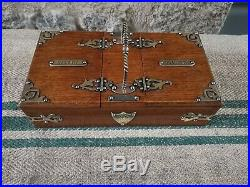 A Victorian Oak & Brass Cigar Humidor Box