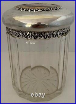 American Sterling & Glass Figural Enamel Cigar Tobacco Jar Humidor Durgin 1895