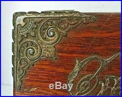 Ant Victorian Oak Brass Ornate metal lined Cigar Tobacco box humidor 1890 lock