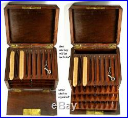 Antik Französisch Zigarre Brust, Präsentationsbox, Regale, Napoleon III