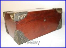 Antique 1800's Victorian ornate mahogany wood cigar humidor lined tobacco box