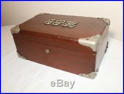 Antique 1800's Victorian silver mahogany wood cigar humidor lined tobacco box