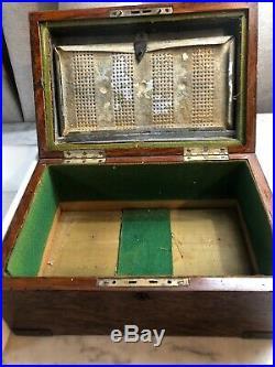 Antique 1880s Tiger Oak & Brass Cigar Box / Humidor With Milk Glass Liner