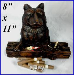 Antique 19th c Black Forest Cigar, Smoker's Cabinet, Stand, Box, German Shepherd