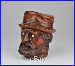 Antique 19th c. Wood carved tobacco jar, box, mans head shape figure