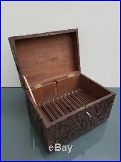 Antique BLACK FOREST wood hand carved Dragon religious humidor cigar cave box