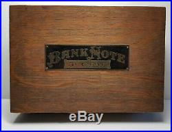 Antique Bank Note 5¢ Cigars Wooden Humidor Box Tin Lined Hinged Lid Nickel Cent