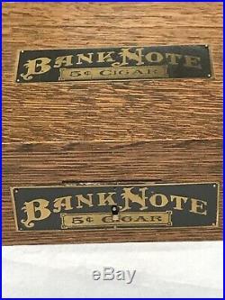 Antique Bank Note 5¢ Cigars Wooden Humidor Box Tin Lined Hinged Lid Nickel lock