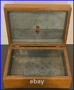 Antique Bank Note 5¢ Cigars Wooden Humidor Box Tin Lined Hinged RARE, UNIQUE
