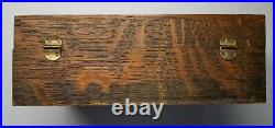 Antique Bank Note 5¢ Cigars Wooden Humidor Box Tin Lined with Label Paperweight