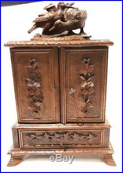 Antique Black Forest Desk Cigar Cabinet, Chest, Box, Presentation Server Birds
