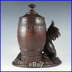 Antique Black Forest Hand Carved Wood Country Rooster Tobacco Cigar Humidor Box