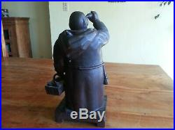 Antique Black Forest Hand Carved Wood Monk Friar Tobacco Cigar Humidor Box 14 in