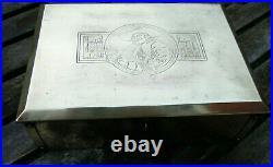 Antique Brass Cigar Box/humidor Los Angeles Signed'grammes Allentown'