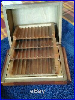 Antique Cigar Humidor 4 Tray wood box with issues