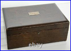 Antique Cigar Humidor Box Wooden Milk Glass-Lined Heavy J. W. Selover WOW