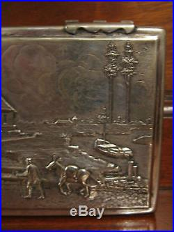 Antique Early 20th Century Silver Alloy Humidor Box with Various Scenes