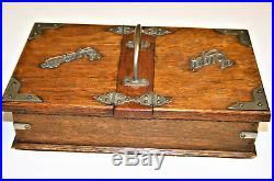 Antique Edwardian Oak Cigar & Cigarettes Box 2 Compartments Table Top Humidor