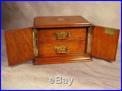 Antique Edwardian Vintage Tiger Oak wood Cigar Humidor Smokers Cabinet Box Safe