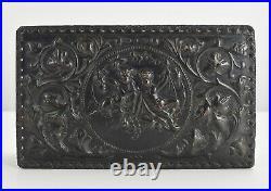 Antique Embossed Leather Cigar Humidor / Trinket Box w Cherubs