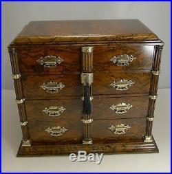 Antique, English Burr Walnut and Brass Cigar Cabinet / Humidor c. 1880
