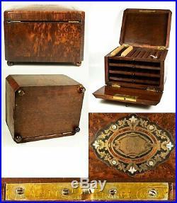 Antique French Cigar Chest, Presentation Box, Shelves, Napoleon III, Victorian