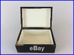 Antique French Cigar Jewelry Case Box Humidor Wooden Brass Marquetry Victorian