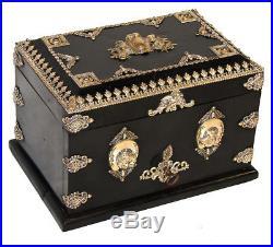 Antique French Napoleon III 10 Cigar Chest, Box, Presenter Hunt Horse & Dog