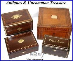 Antique French Napoleon III Era 10 Tobacco & Cigars Box, Casket Walnut & Brass