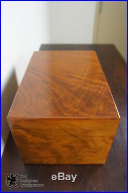 Antique French Walnut Milk Glass Lined Cigar Box Humidor Chest Tobacco Caddy